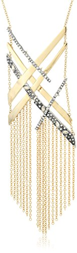 Alexis Bittar Crosshatch Tassel Pendant Necklace with Crystal Accent, 10K Gold with Antique Rhodium Accents, One Size