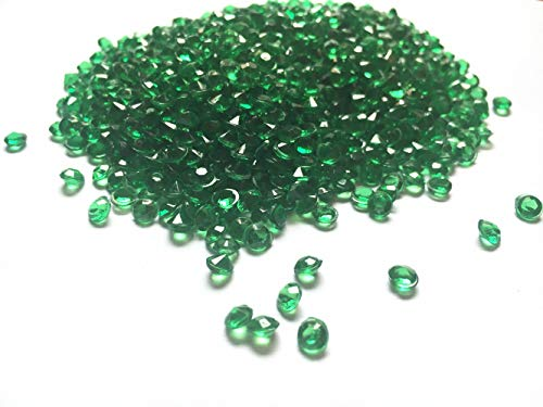 Acrylic Color Faux Round Diamond Crystals Treasure Gems for Table Scatters, Vase Fillers, Event, Wedding, Arts & Crafts (2000 pcs) (Emerald Green)
