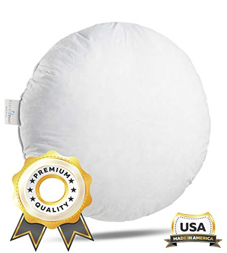 ComfyDown 95% Feather 5% Down, 32 inch Diameter Round Decorative Pillow Insert, Sham Stuffer - Made in USA