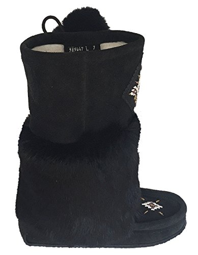Laurentian Chief Womens Imperiale Moccasin Boots Beaded With Fur 13 Mukluks (10, Black)