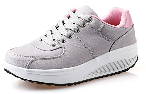 Ausom Donna Zeppe Piattaforma Comfort Scarpe Tonificanti Camminare Fitness Allenarsi Sneaker Grigio