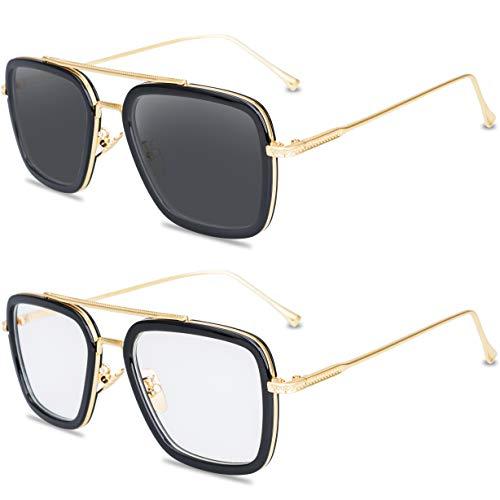 Tortoise Sunglasses Retro Aviator Polarized Sunglasses Square Metal Frame for Men Women Sunglasses Classic Downey Iron Man Tony Stark (Gold Frame and Clear Lens+Gold Frame Mirrored ()