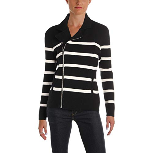 (Lauren Ralph Lauren Womens Levani Knit Striped Moto Coat B/W XS)