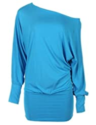 Candy Girl Clothing - Ladies Batwing Slouch Top Off Shoulder Plus Sizes