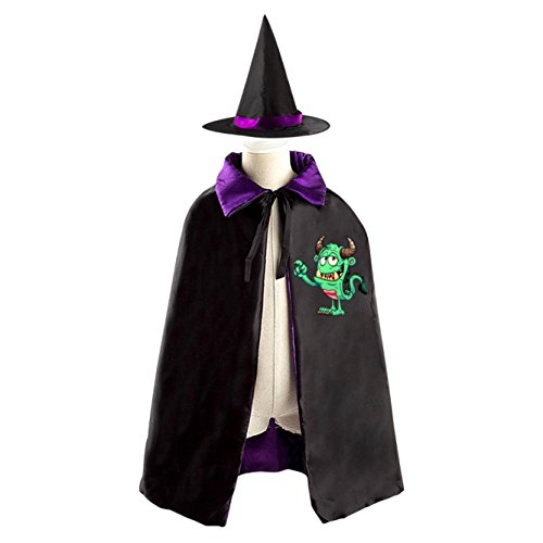 Halloween Green Monster Kids Hooded Cloak Role Play Halloween Costume