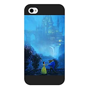 Customized Black Frosted Disney Cartoon Movie Beauty and The Beast iPhone 4 4s case