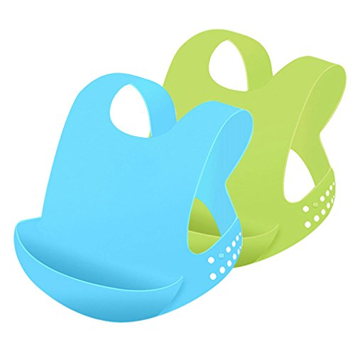 Wearable Soft Silicone Baby Bib Waterproof Easily Wipes Clean! Burp cloths Spend Less Time Cleaning after Meals with Babies or Toddlers! 2 Pack,Green/Blue