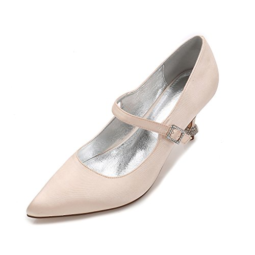 di matrimonio High accompagnato In Lo seta Champagne punta Wild Qingchunhuangtang scarpe Donna a scarpe fine con Madre Heeled raso Wedding Taglia Calzature qHFwEx