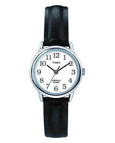 (Timex Women's Easy Reader | Black Leather Strap White Dial | Casual Watch T20441)