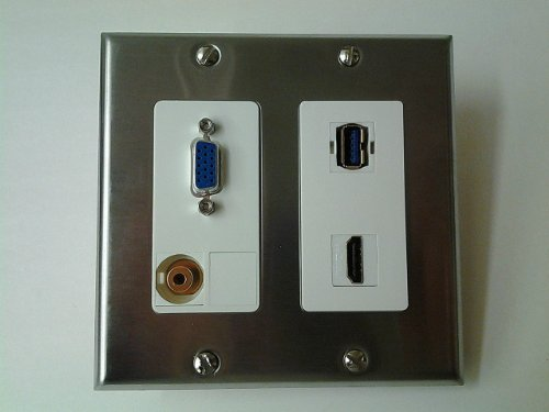 VGA DB15 + 3.5MM STEREO + USB 3.0 A-A + HDMI v1.4 STAINLESS STEEL & WHITE DOUBLE GANG WALL PLATE