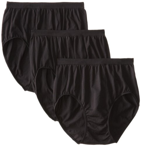 Bali Women's 3 Pack Comfort Revolution Brief Panty, Black, 10/11