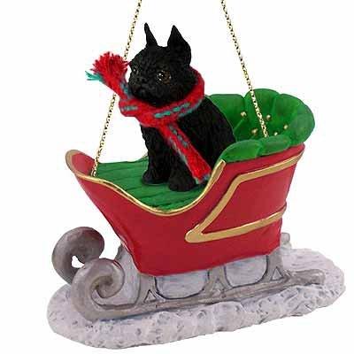 Brussels Griffon Sleigh Ride Christmas Ornament Black - DELIGHTFUL!