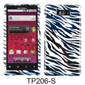 (Silver and black Zebra Pattern Snap on Cover Faceplate for Motorola Triumph wx435)