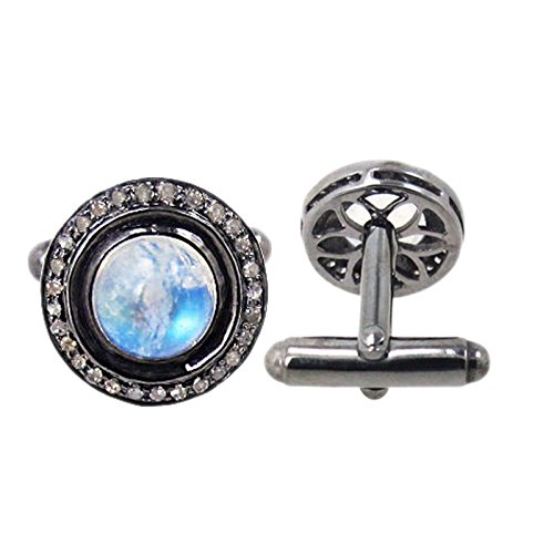 Rainbow Moonstone Cuff links 925 Sterling Silver Diamond Men's Jewelry, Wedding Jewelry Cufflinks by Jaipur Handmade Jewelry