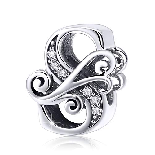 BAMOER 925 Sterling Silver Initial Letter S Charms for Snake Chain Bracelet Necklace Alphabet Beads (Sterling Silver Best Friend Charms)