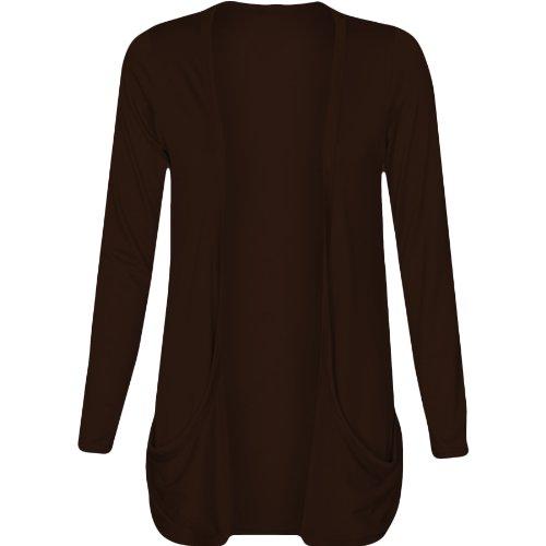 Fashion Wardrobe Womens Long Sleeves Drop Pocket Boyfriend Cardigan Ladies Open Casual Tops 8-14 (USA 10-12/UK 12-14 (M/L), Chocolate Brown)