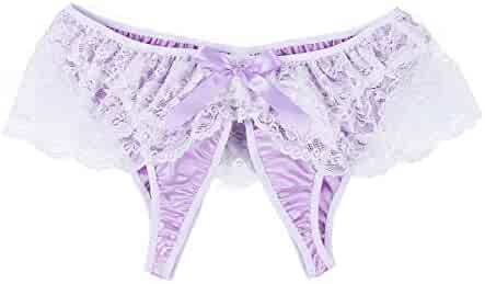 244908620 YiZYiF Sissy Mens Ruffle Floral Lace Underwear Satin Crotchless Panties  Briefs Thongs