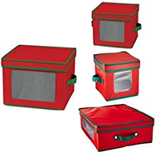 HOUSEHOLD ESSENTIALS Holiday China Storage Box Bundle | Dinnerware and Coffee Cup Cases | Red with Green Trim