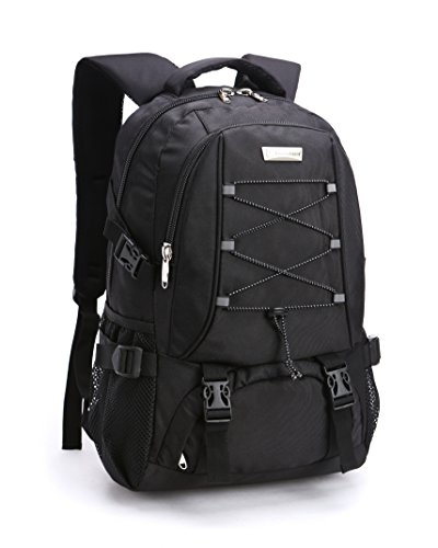 KOPD Outdoor Laptop Backpack Office Backpack Travel Computer Bag School Backpack fits 15.6 inch Laptop and Notebook to Working,School,Camping and Travel(Black) by KOPD (Image #7)