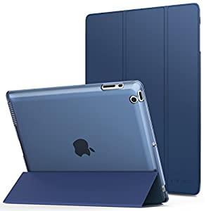 MoKo Case For iPad 2 / 3 / 4 - Ultra Lightweight Slim Smart Shell Stand Cover With Translucent Frosted Back Protector For iPad 2 / New iPad 3 (3rd Gen) / iPad 4, Navy Blue (With Auto Wake / Sleep)