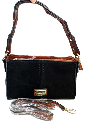Noelle Vegan Faux Leather Biltmore Mini Suede Crossbody In Black No-wb-hb38 Black