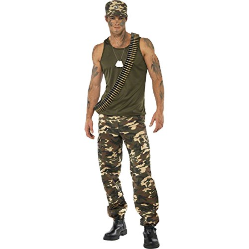 Army Men Costume - Smiffy's Men's Khaki Camo Costume Male Includes Vest and Trousers, Multi, Medium