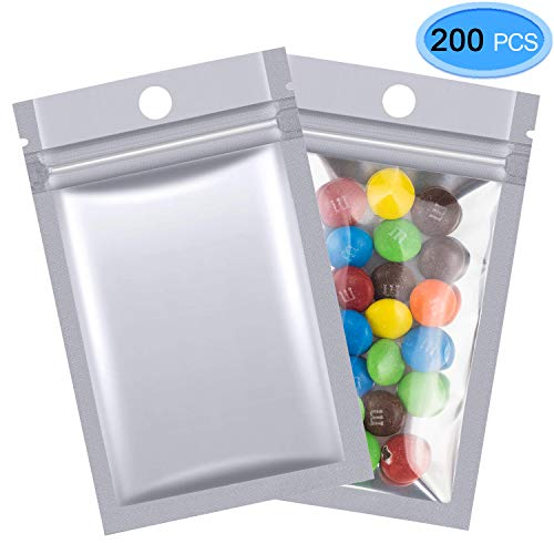 (200 Pcs Mylar Zip Lock Bags, EAONE 7 x 13cm Double-sided Metallic Resealable Clear Ziplock Foil Bags Food Storage Bags Hanging Storage Pouch Multicolor (Silver))