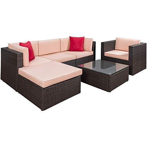 Flamaker 6 Pieces Wicker Sectional Furniture Set Patio Furniture Set Cushioned Sectional Sofa All-Weather Outdoor Rattan Sofa Set with Cushions and Coffee Table (6 Pieces)