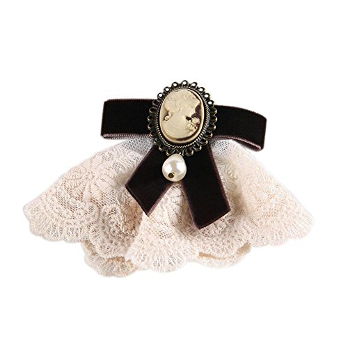 80Hou Women Cameo Pearl Brooch Pin Vintage Lace Victoria Girl Bow Breastpin for Wedding-Brown