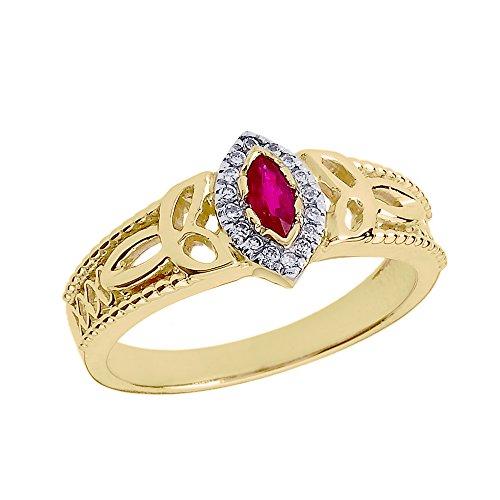 Bague Femme/ Bague De Fiançailles 14 Ct Or Jaune Rubis Et Diamant Trinité Nœud