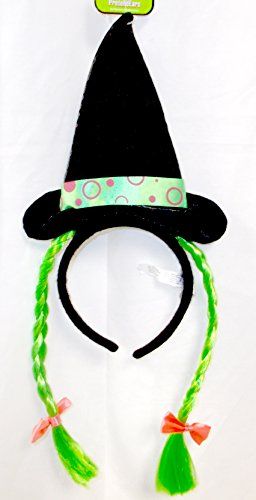(Witch Headband Green Wired Silky Hairbraid Purple Bow Costume Dress-up)