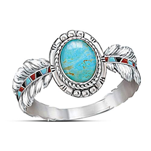 Haluoo Enamel Rings for Women, Vintage Boho Turquoise Feather Enamel Engagement Wedding Band Gemstone Birthstone Round Ring Fashion Solitaire Promise Rings Size 6-10 (7, Silver)