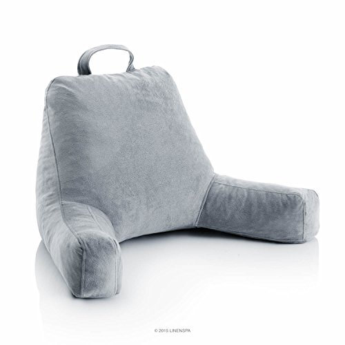 LINENSPA Shredded Foam Reading Pillow - Perfect for Back Support while Relaxing, Gaming, Reading, or Watching TV - Soft Velour Cover - 3 Year U.S. Warranty (Support Bed Back)