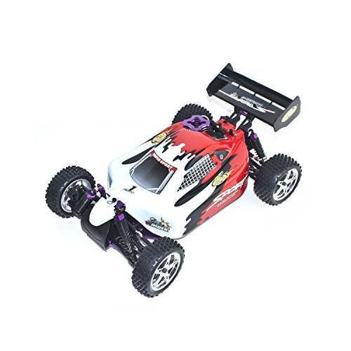 Car Control Remote Gas Nitro (ALEKO 1082 4WD High Speed Nitro Powered Off Road Racing Buggy Vertex 18 CXP, Red 1/10 Scale)