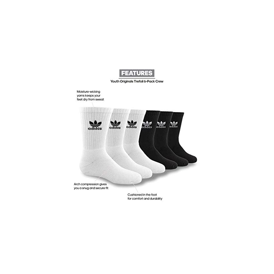adidas Originals Unisex Originals Trefoil Crew 6 Pack (Little Kid/Big Kid)