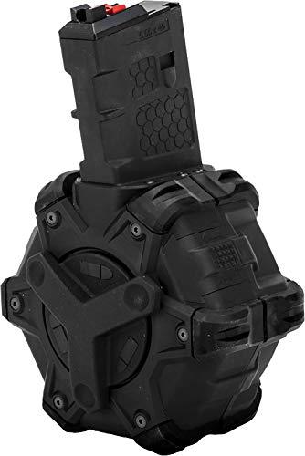 Evike AW Custom Drum Magazine for Gas Blowback Airsoft Pistols & Rifles (Type: WE Open Bolt M4 / Black) (M4 Airsoft Gun Drum Mag)