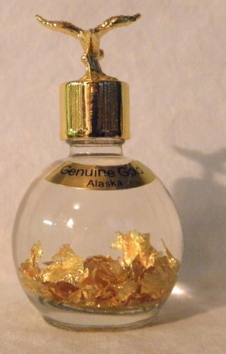 ALASKA GOLD 24k Gold Flakes (in 1 oz. Miner's Assay Bottle) with EAGLE Top (Gold Flakes Bottle)