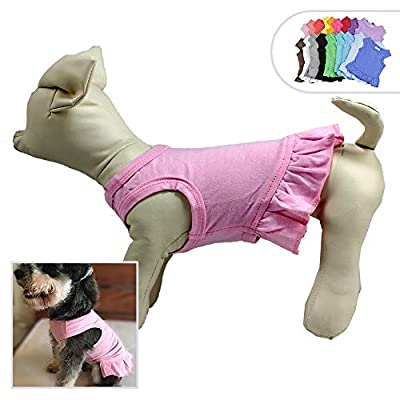 lovelonglong 2019 Dog Dress Sports Tee-Dresses Tanks Top for Miniature Small Size Female Dogs 100% Cotton 18 Colors by lovelonglong