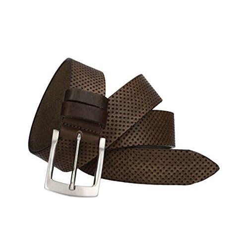 f32d35eef95b De alta calidad Cinturón hombre INTARSI marrón real cuero Made in Italy sin  pespuntes