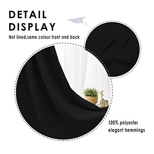 FLOWEROOM Blackout Curtains Thermal Insulated Draperies with Grommet for Bedroom, Black, 52 by 84 inch, Set of 2