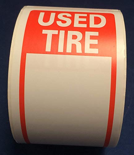 Tire Label - Used Tire 1 Roll of 250 Stickers Size 6