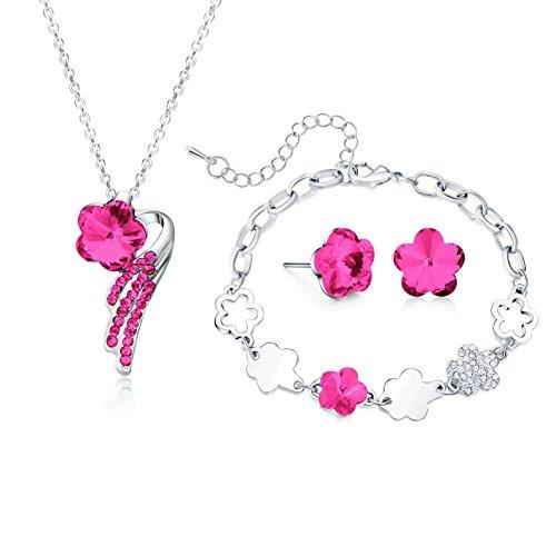 Necklace Pendant Bracelet Stud Earrings Jewelry Set For Women Teens Little Girls Kids Gift … (Diy Costumes For Teenagers 2016)