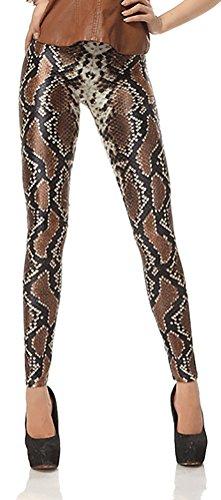 QZUnique Women's Snake Skin Pattern Shaping Sexy Capri Leggings M