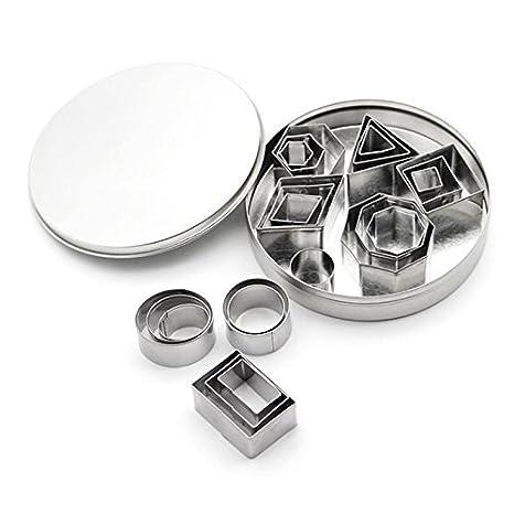 SODIAL Cortador de galletas 24 piezas / juego Molde de hornear pastel de fondant de acero