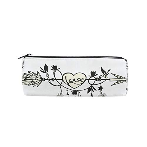 (Students Pencil Case Arrow Feather Heart Love Boho Style Pen Bag Zipper Pouch Purse)