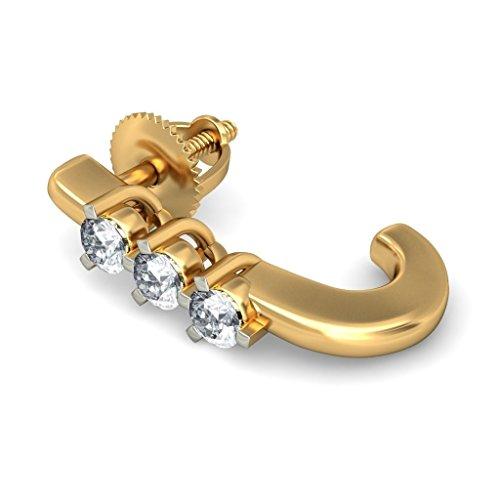 14K Or jaune 0.24CT TW White-diamond (IJ | SI) Boucles d'oreilles créoles