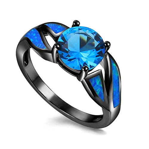 UFOROO Black Rhodium Plated Blue Opal Infinity Ring Sky Blue Cubic Zircon Engagement Rings for Women Size 9