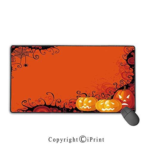 Mouse pad with Lock,Spider Web,Three Halloween Pumpkins Abstract Black Web Pattern Trick or Treat Decorative,Orange Marigold Black, Non-Slip Rubber Base,15.8