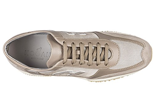 Hogan scarpe sneakers donna camoscio nuove interactive h flock beige