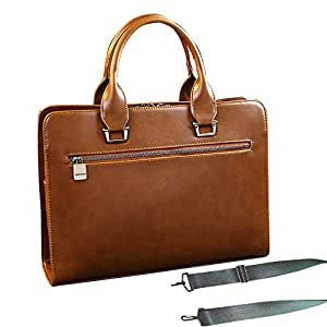 Maletin hombre piel a trabajo de mano y con correa de hombros maletin portatiles bolso de